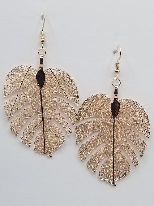 Metal Monstera Leaf Earring