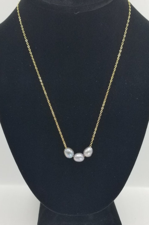 Triple Side by Side Freshwater Pearl Necklace