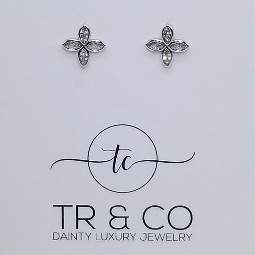CZ Cross Design Studs