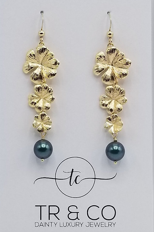 Gold Flower Drop with Swarovski Pearl Earring
