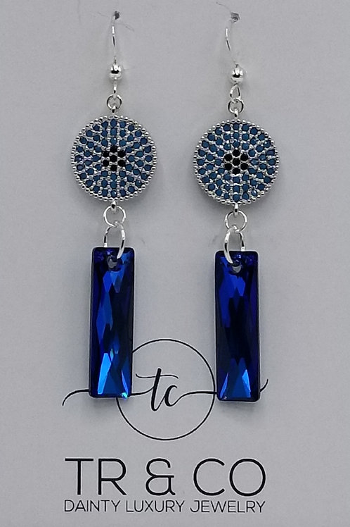 Blue Swarovski Dangle Earring