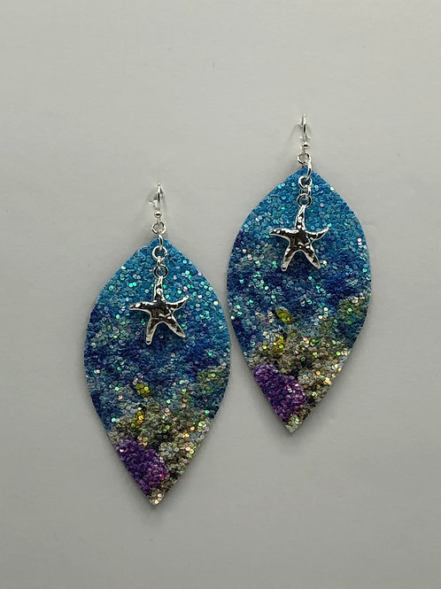 Star Fish Leather Earring