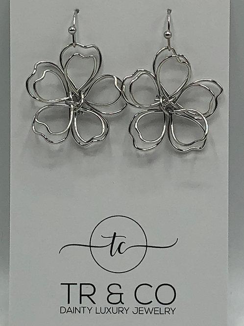Silver 3D Flower Earring