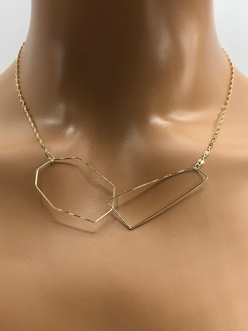 Gold Wire Shape Necklace