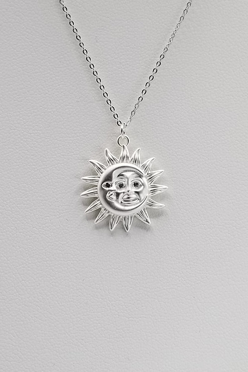 Silver Moon Sun Pendant Necklace