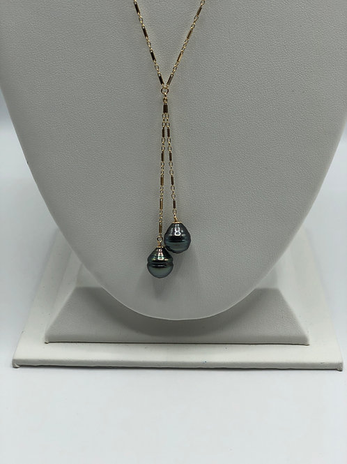 Double Baroque Tahitian Pearl Dangle Necklace