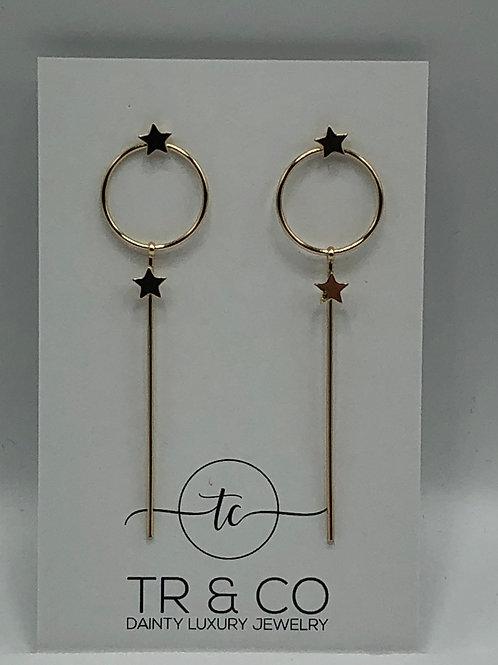 Gold Stem Star Earring