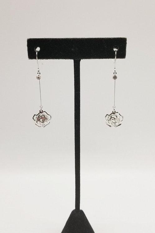 CZ Rose Dangle Earring