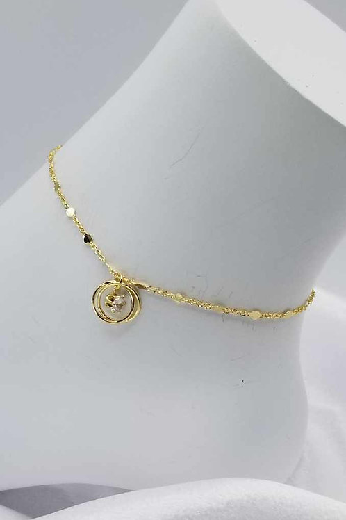 Gold Circle with CZ Anklet