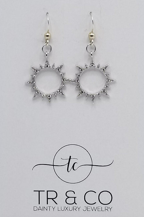 Sterling Silver Sun Earrings CZ