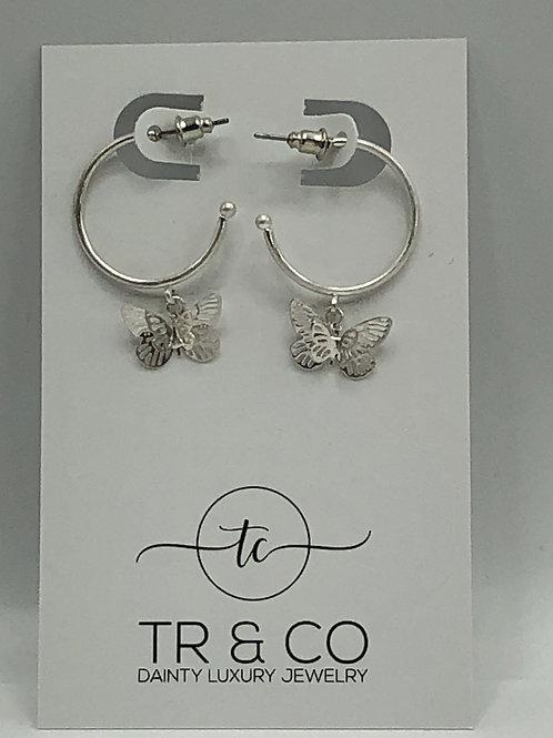 Silver Open Hoop Butterflies 3D