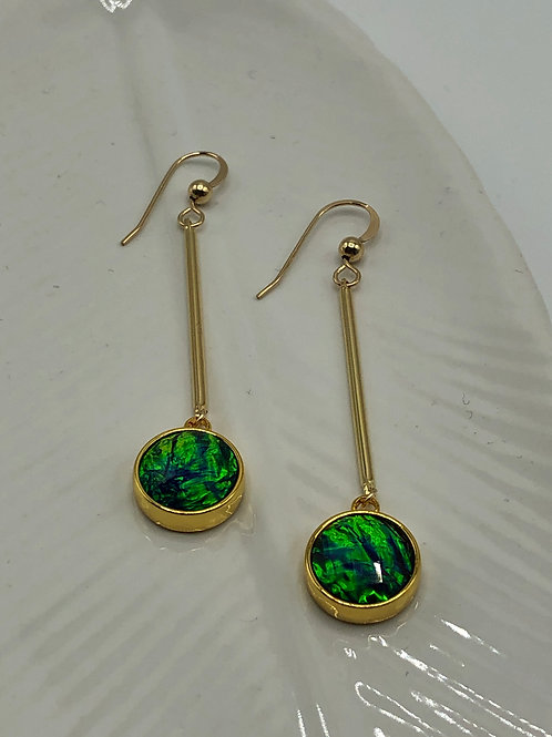 Green Resin Drop Earring