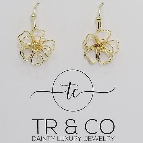 3D Gold Flower Stud Earring