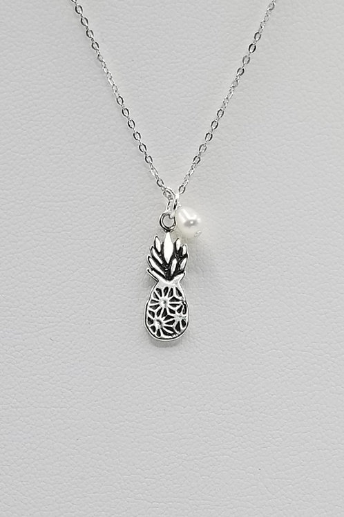 Silver Pineapple with Pearl Necklace