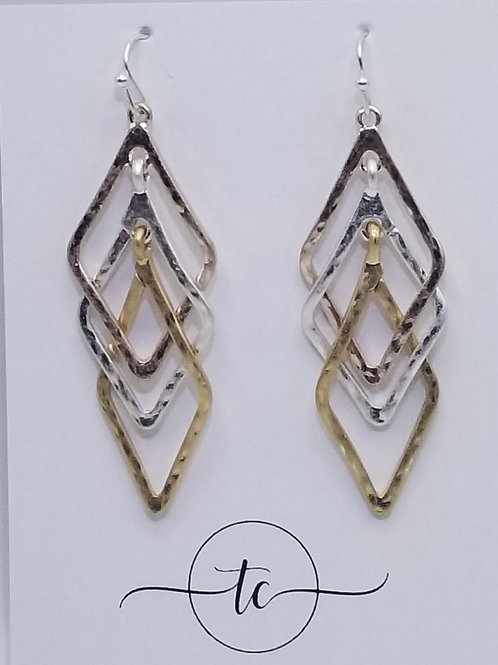 Silver Gold Layered Triangles