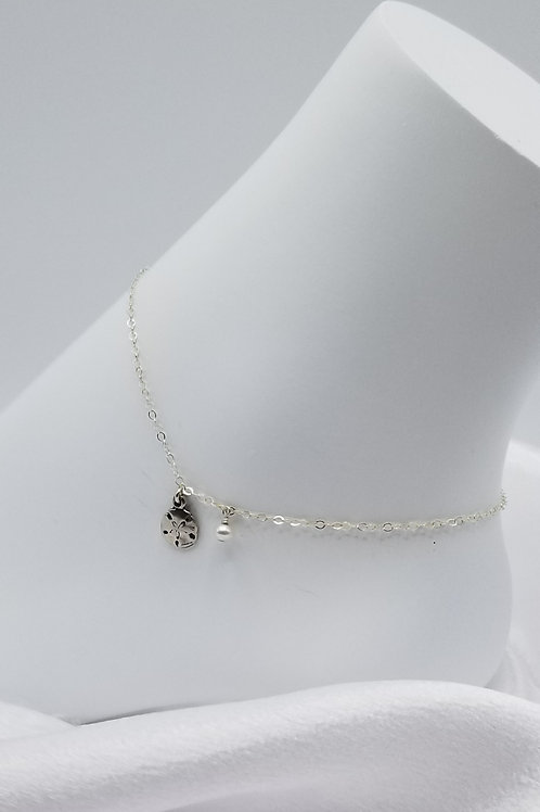 Silverdollar Shell with Pearl Anklet