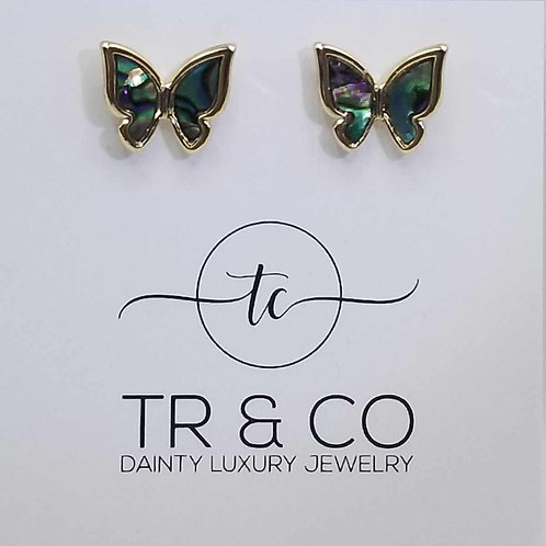 Abalone Butterfly Studs
