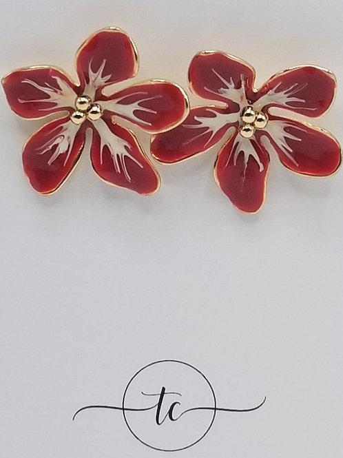 Red Enamel Flower Earring