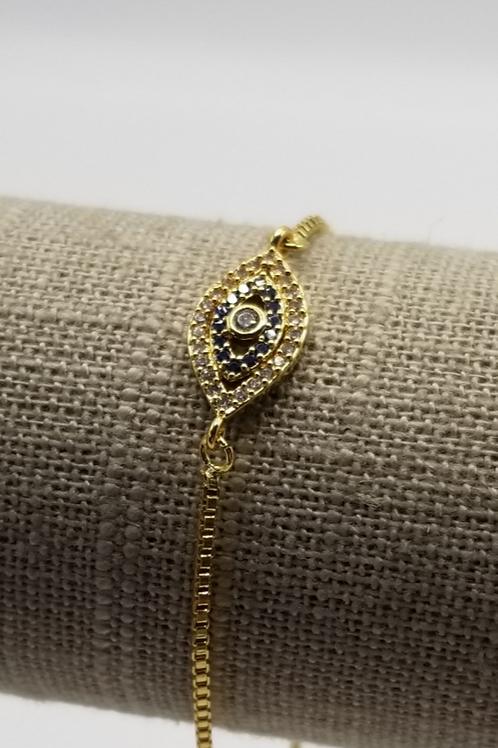 Gold Adjustable CZ Bracelet