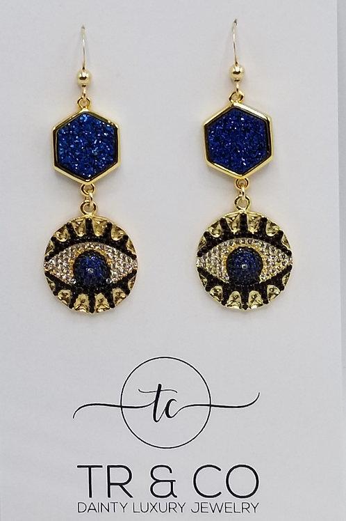 Blue Eyed Druzy Earring