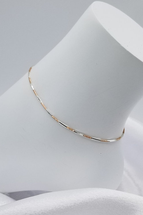 Sterling Silver with Rosegold Anklet
