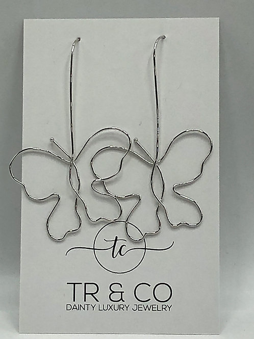 Silver Dangle Butterfly