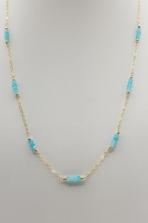 14k gold filled chain with apatite stones.