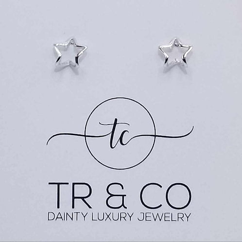 Curved Silver Star Studs