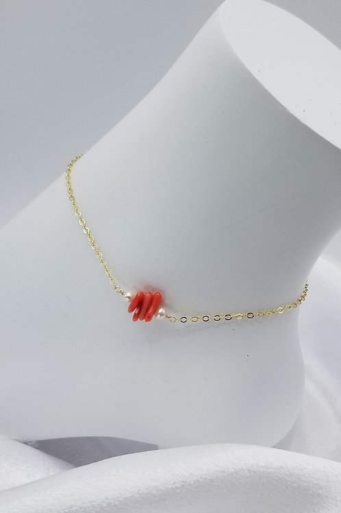 Red Coral with Pearl Anklet