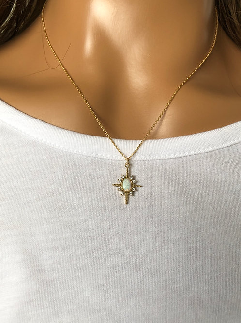 Lab Opal Star Pendant Necklace
