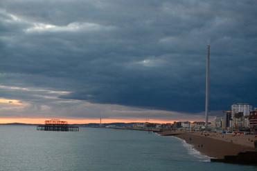 Brighton sefront at sunset