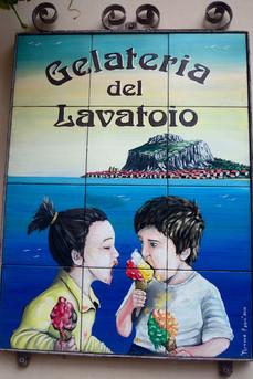Ice cream sign Cefalu, Sicily
