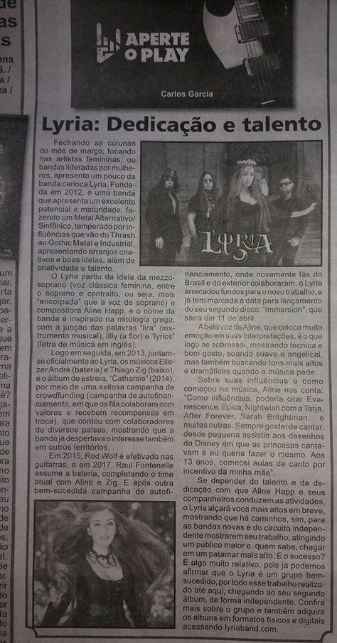 Lyria no Jornal A Noticia coluna Aperte o Play