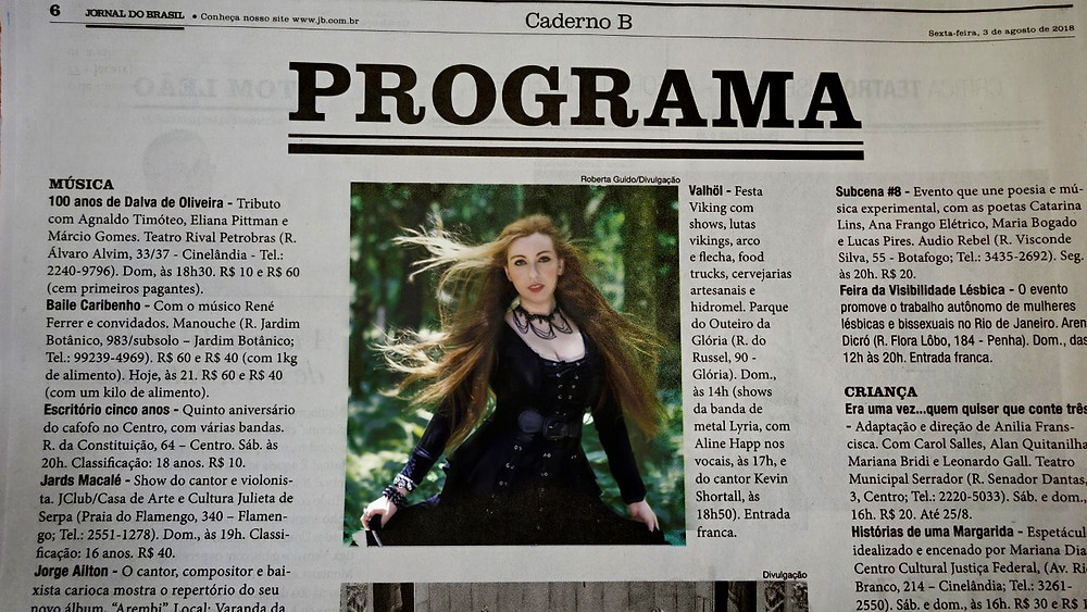 Aline Happ vocalista do Lyria no Jornal do Brasil
