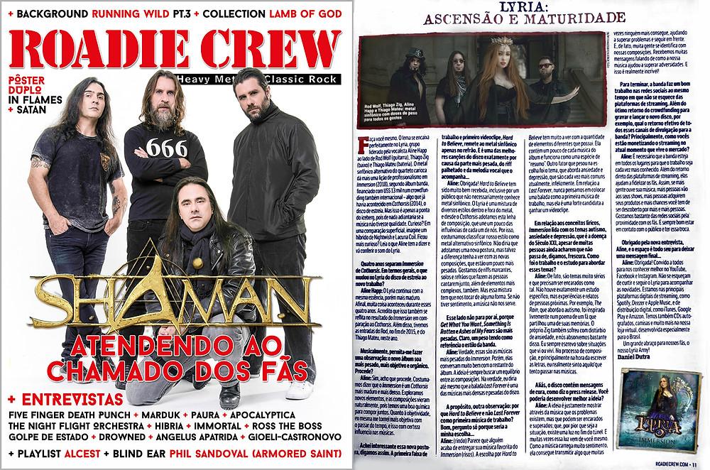 Lyria on Roadie Crew Magazine
