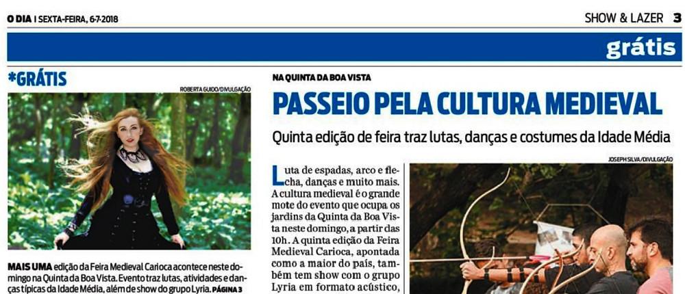 Lyria no Jornal O Dia na Feira Medieval da Quinta da Boa Vista