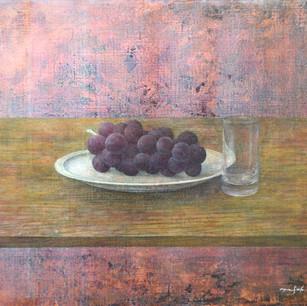 葡萄とグラスの静物 grapes and a glass