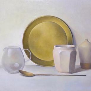 白い陶器と真鍮の静物 white pottery and brasses