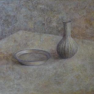 一輪挿しと皿の静物 vase and plate