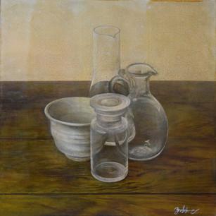 ガラスと陶器の静物 glasses and china