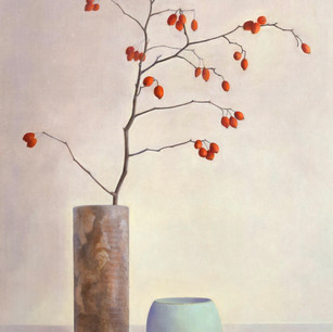 鈴薔薇と陶器の静物 redleaf rose and  pottery