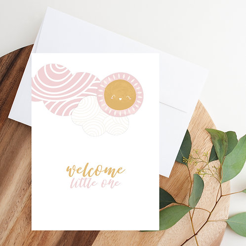Welcome Little One (girl) Notecard