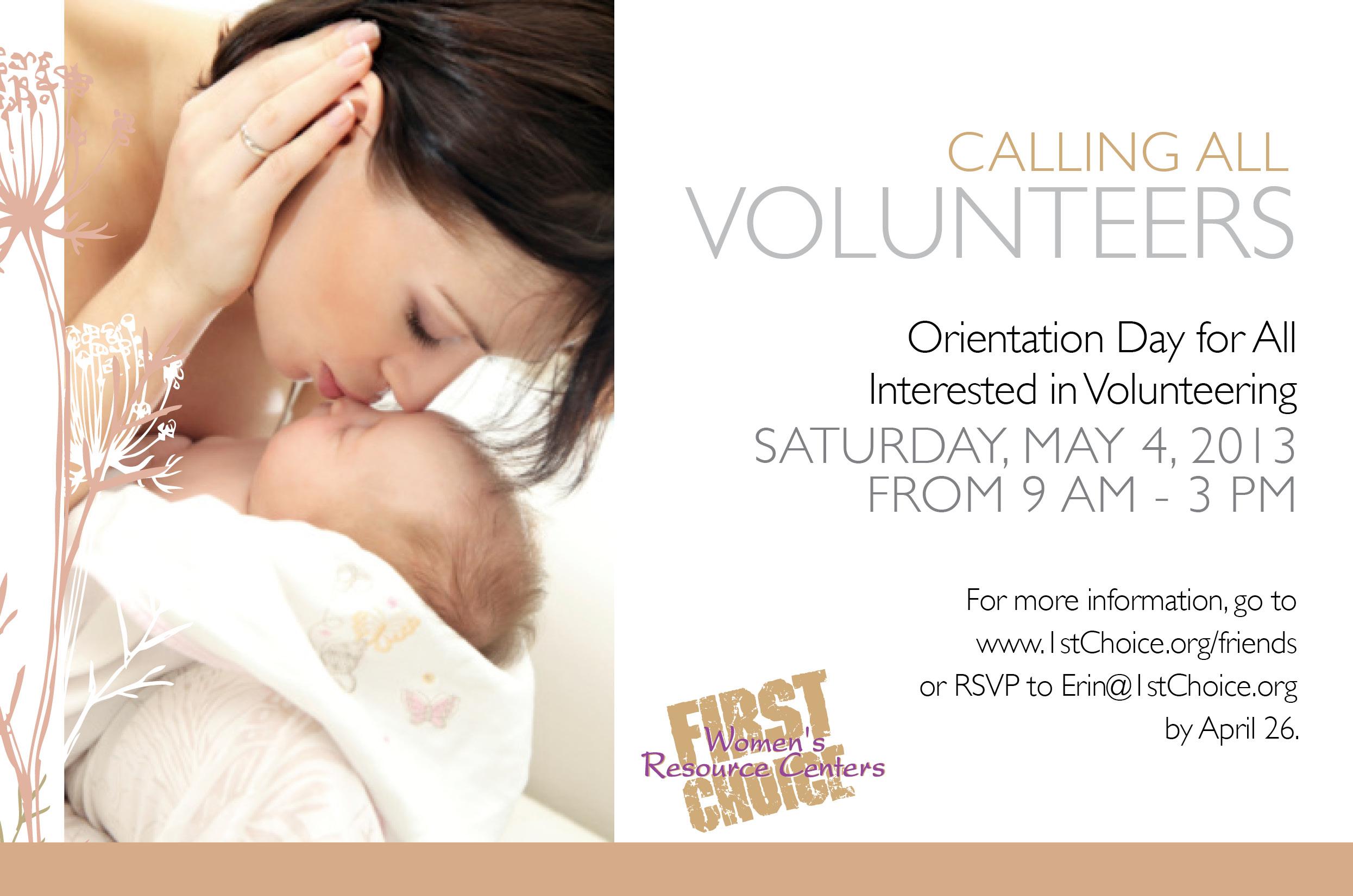 First Choice Volunteer Card