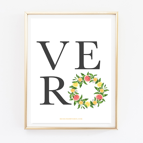 Vero Beach Citrus Wreath Print