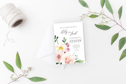 Flower Wedding Invitation Mockup