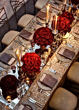 Red & Gold Table Setting