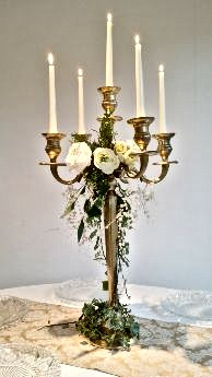 Gold Candelabra 6 Arm with Rose Detail