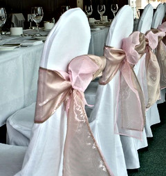 White Chair Cover & Blush Pink Chair Tie