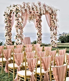 Blush Pink Weddng with Ruffle Chair Covers