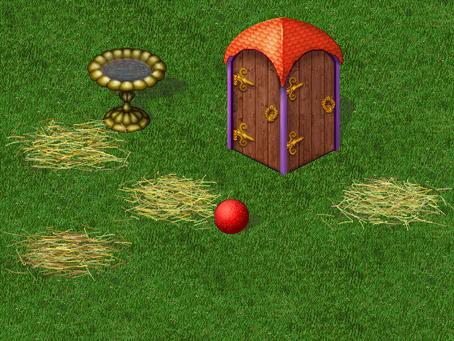 Hay, Birdbath, Ball, Booth - Furcadia